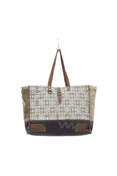 Gray & Cream Design Canvas & Leather Weekender Bag