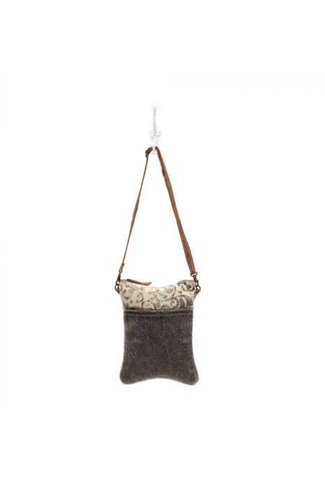 Cowhide Leather Swirl Canvas Crossbody Handbag