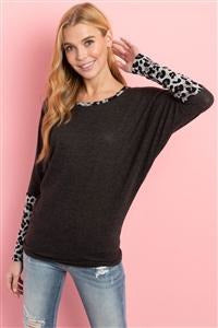Charcoal Grey Leopard Contrast Long Sleeve Top