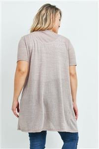 Taupe Curvy Short Sleeve Cardigan