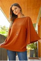 Cognac Bell Sleeve Top