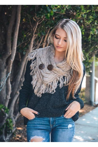 Easy Like Sunday Morning 2 Button Taupe Crochet Scarf - Classic Trendz Boutique