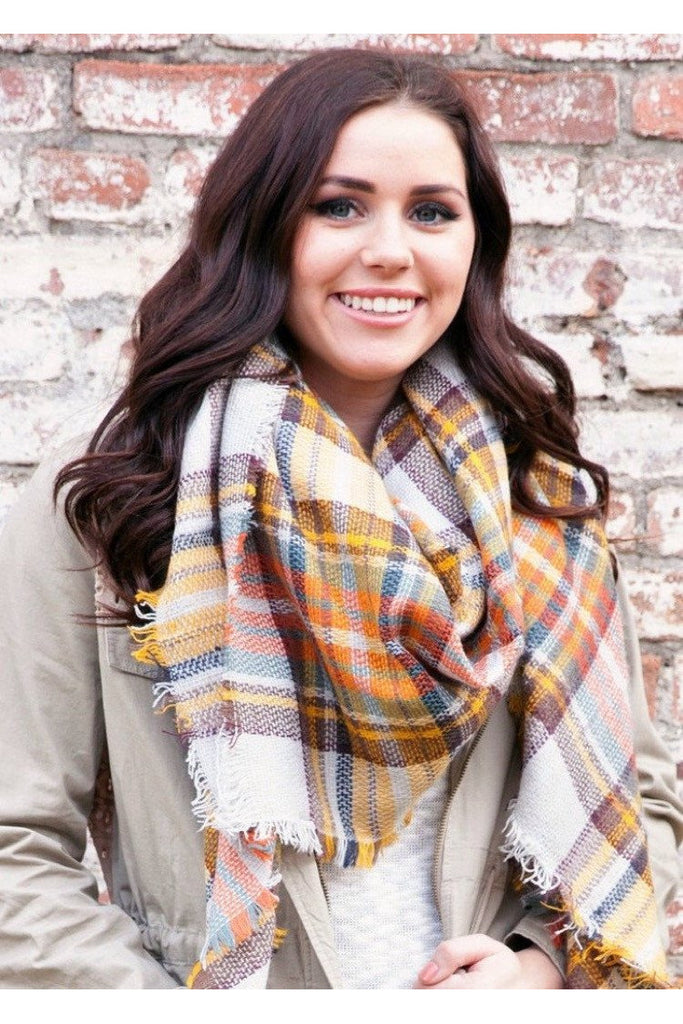 Flannel Cream Plaid Blanket Scarf - Classic Trendz Boutique