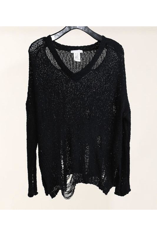 Distressed Black V-neck Sweater - Classic Trendz Boutique