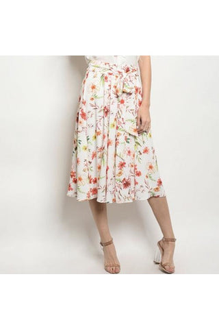 White & Coral Floral Skirt