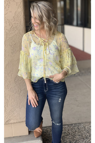 Yellow Floral Butterfly Sleeve Top