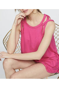 Halter Neck Fushia Top Criss Cross Detail