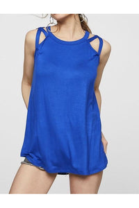 Halter Neck Royal Blue Top Criss Cross Detail