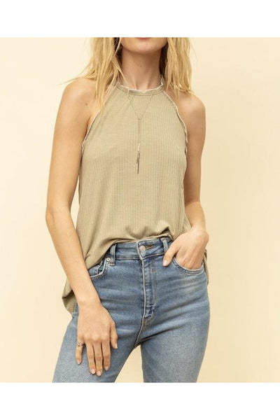 Light Olive & Cream Trimmed Tank Top