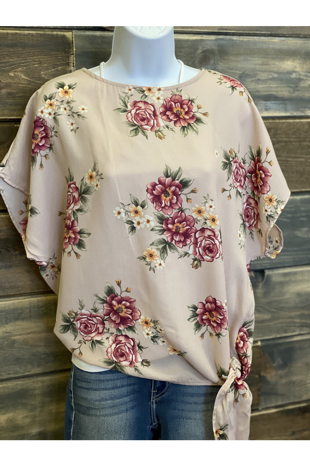 Blush Floral Tie Front Top