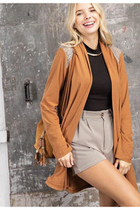 Camel Textured Yoke Suede Feel Cardigan
