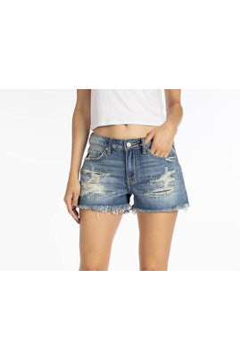 Patty Mid Rise Distressed Denim Kancan Shorts