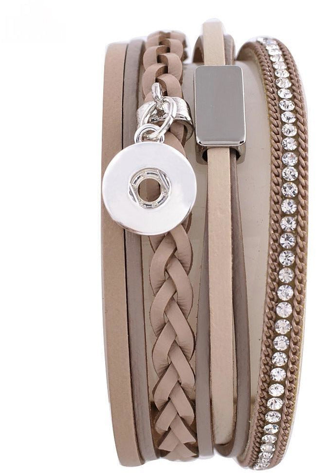 Petite Brown Leather Wrap Bracelet - Trendz Snap Jewelry