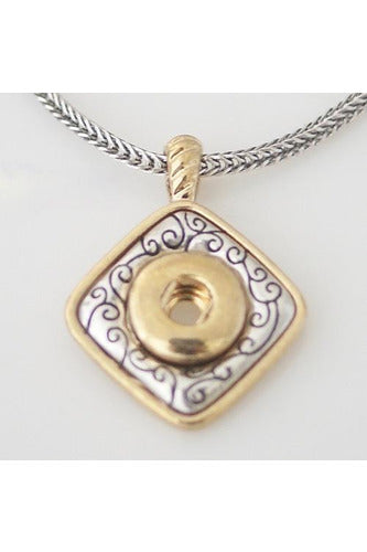 Squared Fillagree Gold & Silver Necklace - Trendz Snap Jewelry