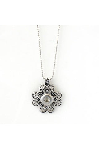 Flower Meets The Heart Necklace - Trendz Snap Jewelry