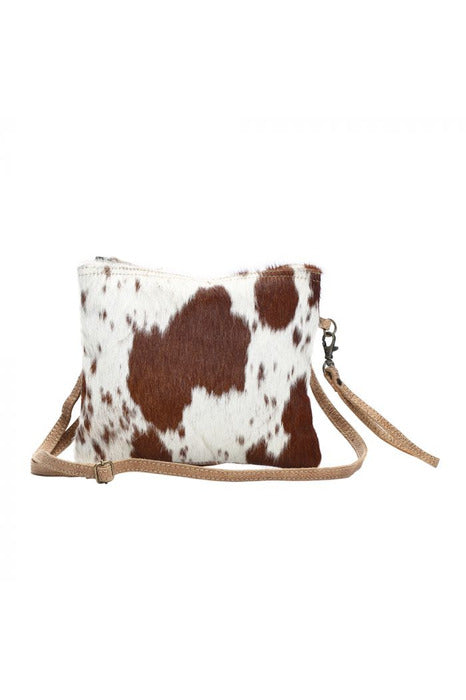 White & Brown Cowhide Leather Handbag