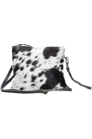 Lulu Black & White Cowhide Crossbody Bag