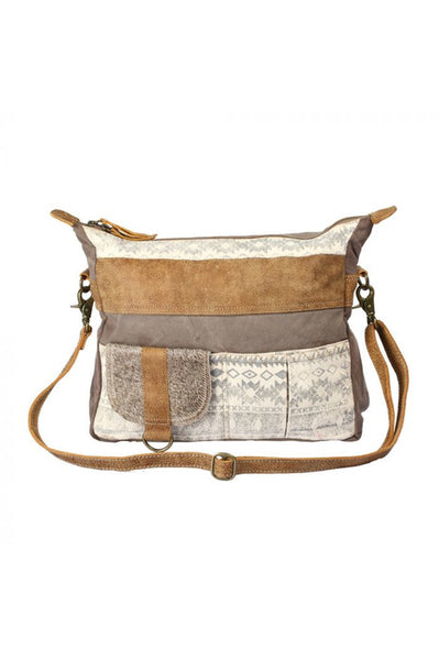 Tribal Print Canvas Leather Cowhide Handbag
