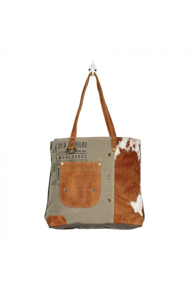 Brown & White Cowhide Leather Canvas Tote Handbag