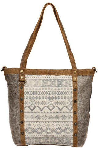 Caitlyn Upcycled Canvas, Leather & Cowhide Tote