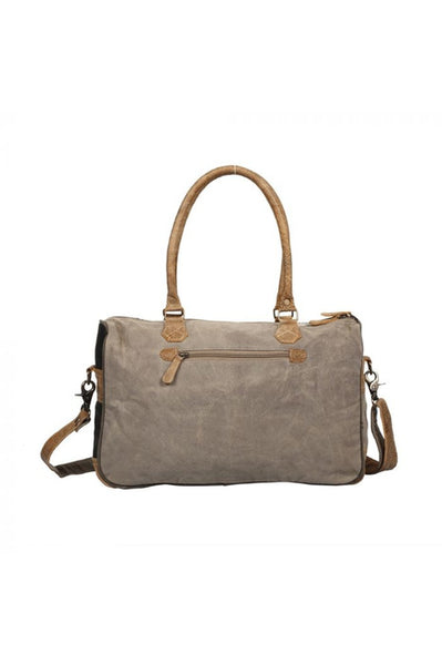 Faded Floral Leather Canvas Cowhide Messenger Bag