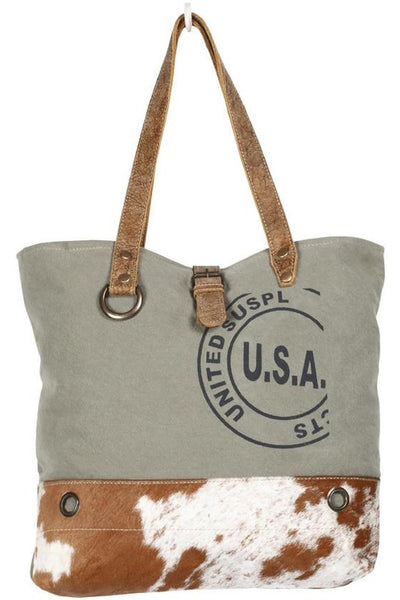 Brenda USA Canvas, Leather & Cowhide Tote