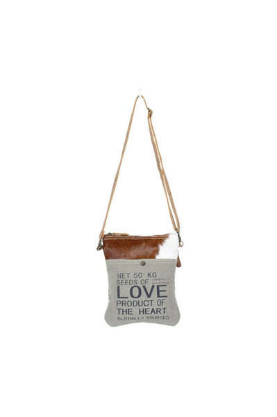 Green Canvas Love Leather Cowhide Handbag