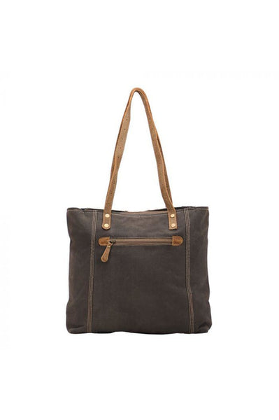 Randi Key Accent Leather Canvas Tote Handbag