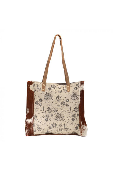 Floral Leather Canvas Cowhide Tote Handbag
