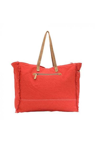 Red Print Canvas & Leather Weekender Bag
