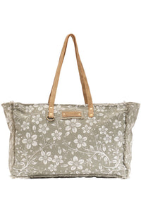 Sage Floral Canvas & Leather Weekender Bag