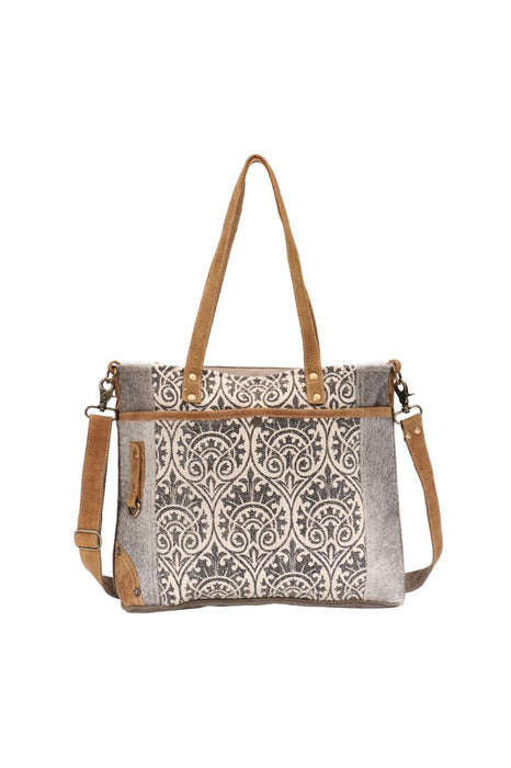 Grey Print Leather Cowhide Canvas Messenger Bag