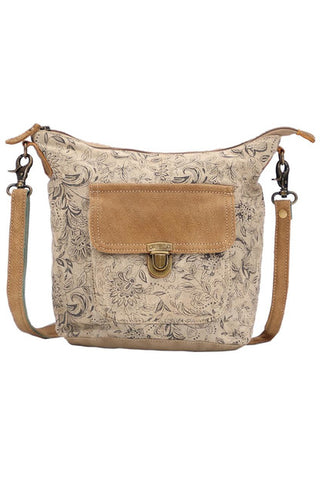 Melinda Canvas & Leather Shoulder Bag