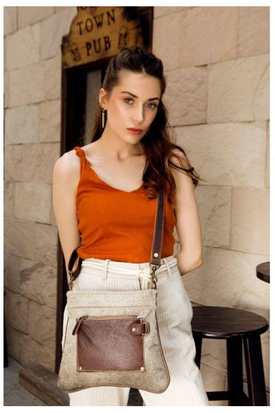 Tan Cowhide Leather Handbag