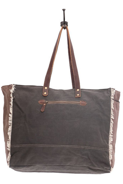 Abstract Canvas & Leather Weekender Bag