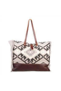 Multi Print Rug Leather Canvas Weekender Bag