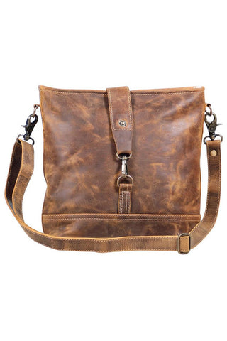 Virginia Distressed Brown Leather Shoulder Bag