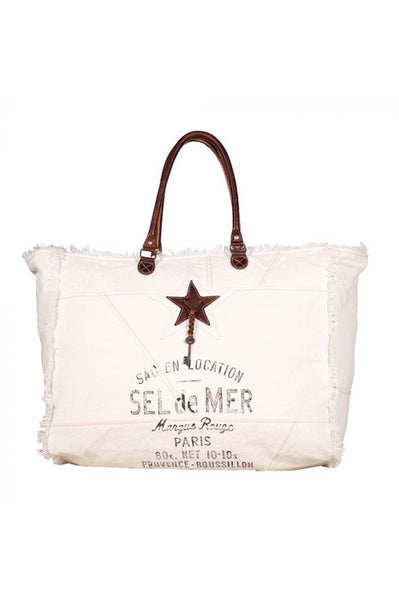 Sel De Mer Star Leather & Canvas Weekender Bag