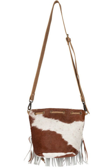 Tan & Cream Fringe Cowhide Handbag