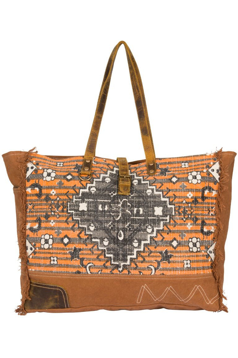 Rust Print Canvas & Leather Weekender Bag