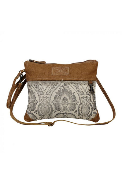 Grey & Cream Canvas & Leather Handbag