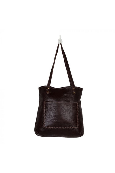 Brown Leather With Black & Cream Cowhide Handbag