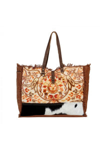 Rust Canvas Print Cowhide Weekender Bag