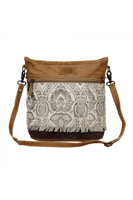 Brown Design Leather & Canvas Handbag