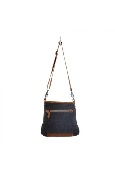 Blue & Tan Canvas & Leather Handbag