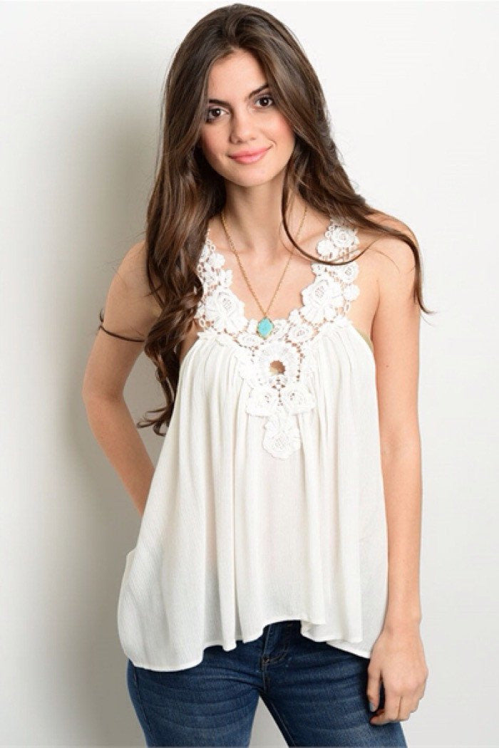 Summer Lace Ivory Tank Top - Classic Trendz Boutique