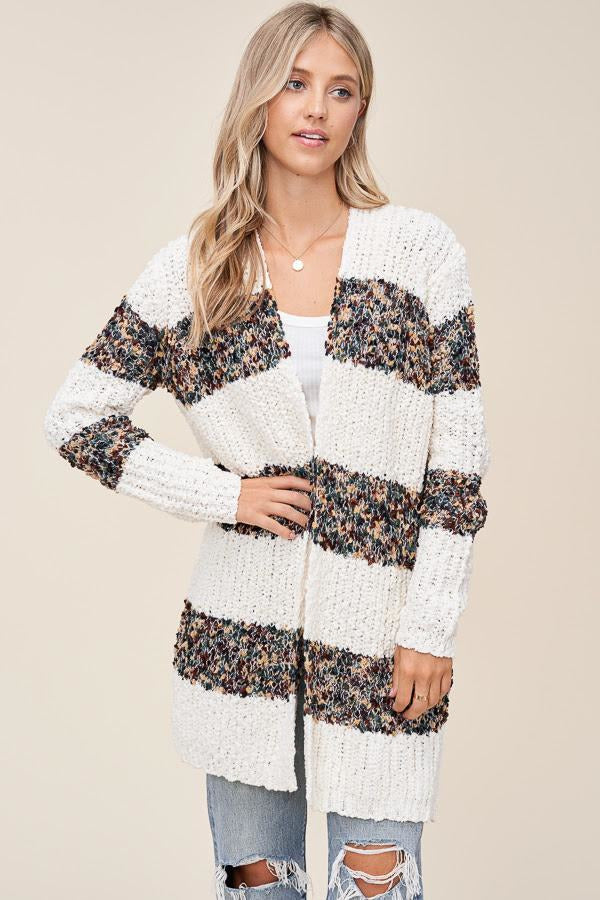 Cream Popcorn Cardigan With Stripes