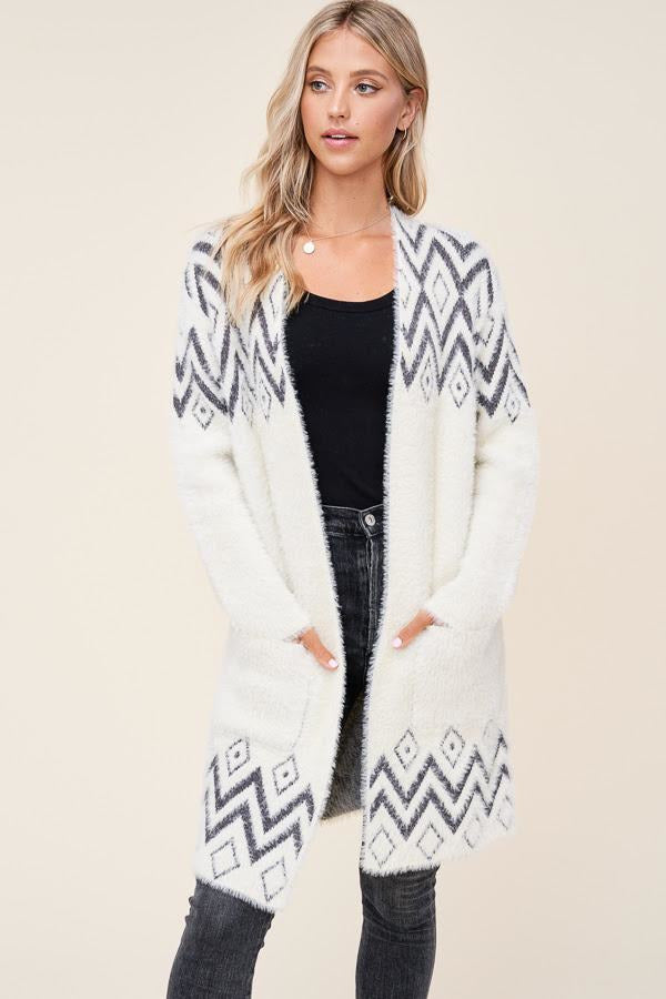 Cream Black Aztec Print Cozy Cardigan