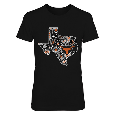 Texas Longhorns - Paisley Map - Logo in Heart - Next Level Women's Junior Fit Premium T-Shirt - Official