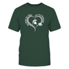 Michigan State Spartans - Double Heart - Next Level Women's Junior Fit Premium T-Shirt - Official
